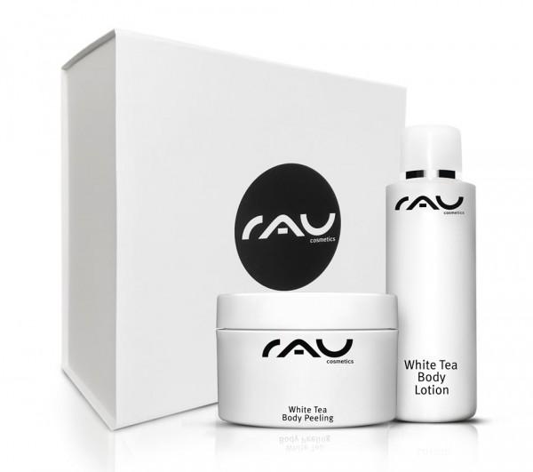 RAU luxe geschenkdoos met White Tea Body Lotion 200 ml & White Tea Body Peeling