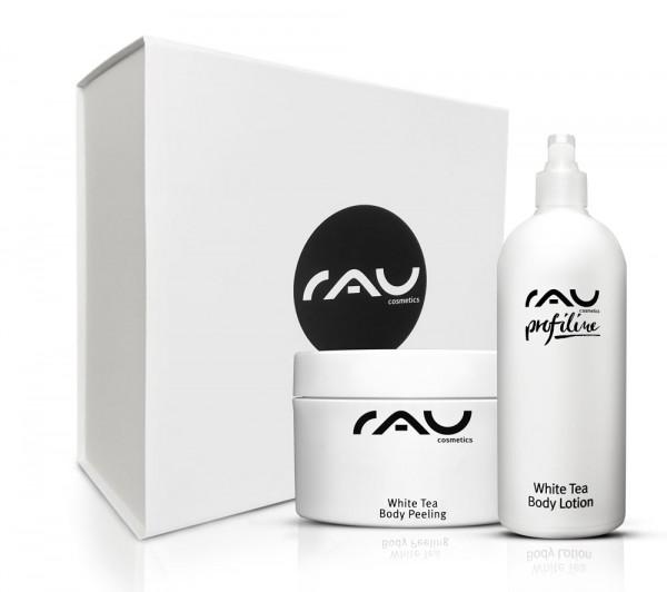RAU luxe geschenkdoos met White Tea Body Lotion 500 ml & White Tea Body Peeling