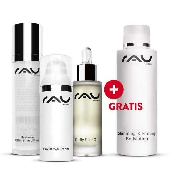 Daily Face Oil, Hyaluron Ultimative Lifting, Caviar 24h cream + GRATIS Slimming & Firming