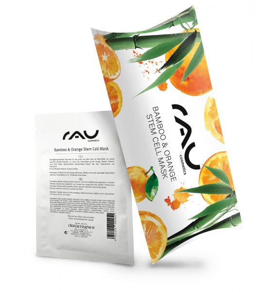 RAU Bamboo & Orange Stem Cell Mask - hydraterend vliesmasker  - 10 stuks