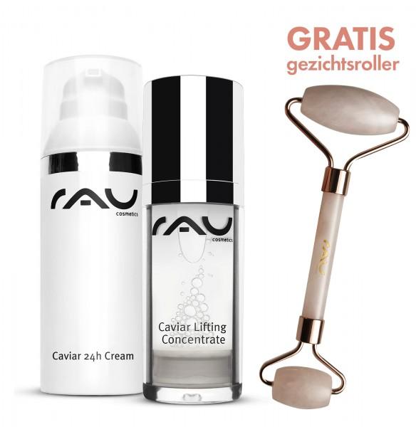 SET Caviar Lifting Concentrate, Caviar 24h cream + GRATIS Roze kwarts gezichtsroller