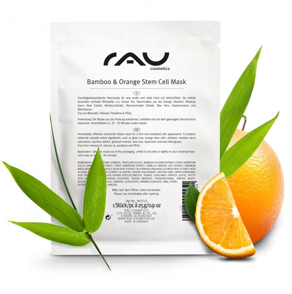 RAU Bamboo & Orange Stem Cell Mask - hydraterend vliesmasker