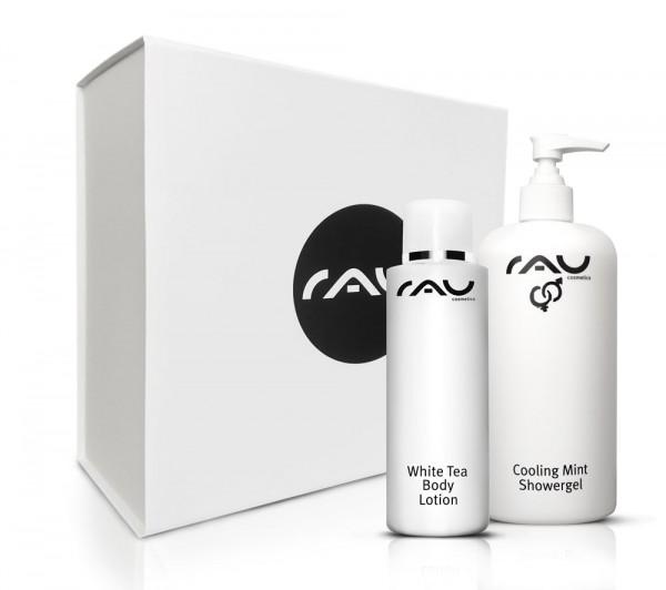 RAU luxe geschenkdoos White Tea Bod Lotion & RAU Cooling Mint Showergel, geschenkdoos met 2 bodyproducten: