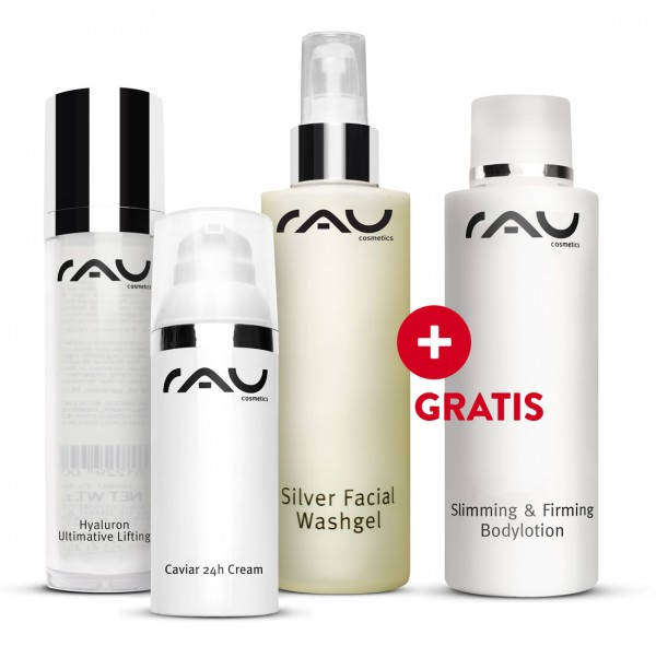 Caviar 24h cream, Hyaluron Ultimative Lifting, Silver Facial Washgel + GRATIS Slimming & Firming