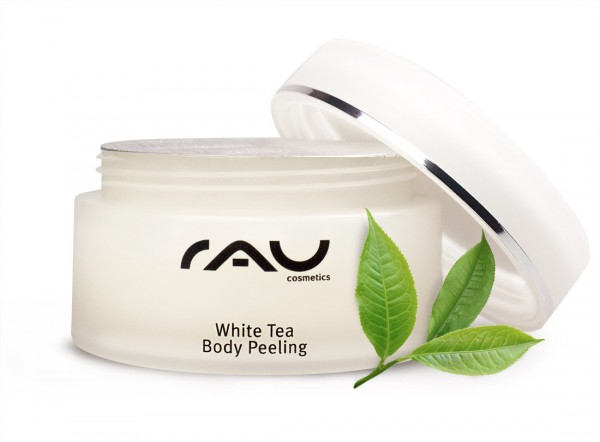 White Tea Body Peeling, 250 ml lichaamsscrub met heerlijke oliën zoals amandelolie, avocado-olie en witte thee