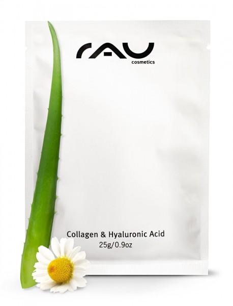 RAU Collagen & Hyaluronic Acid Mask, vliesmasker met hyaluronzuur, collageen,panthenol,aloë vera en kamille
