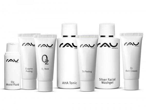 RAU Probeerset O2 Serie - zuurstofarme huid - in gratis toilettasje